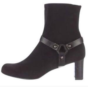 STUART WEITZMAN Goretex Black Harness Heeled Boot